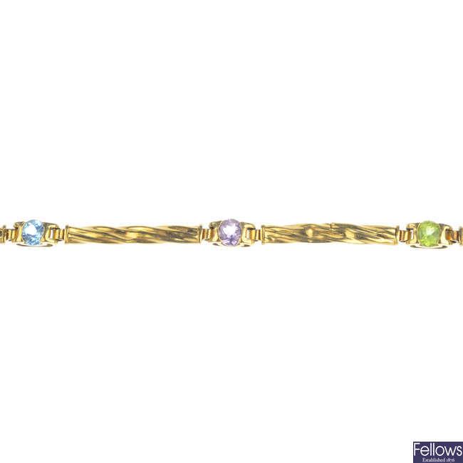 A 9ct gold gem-set bracelet.