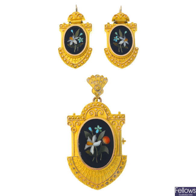 A late Victorian 18ct gold pietra dura pendant and a pair of matching earrings.