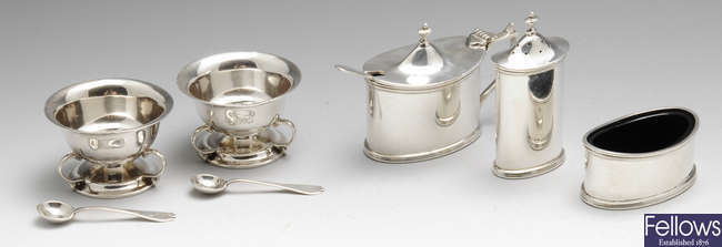 A pair of Edwardian silver open salts & various other condiments.