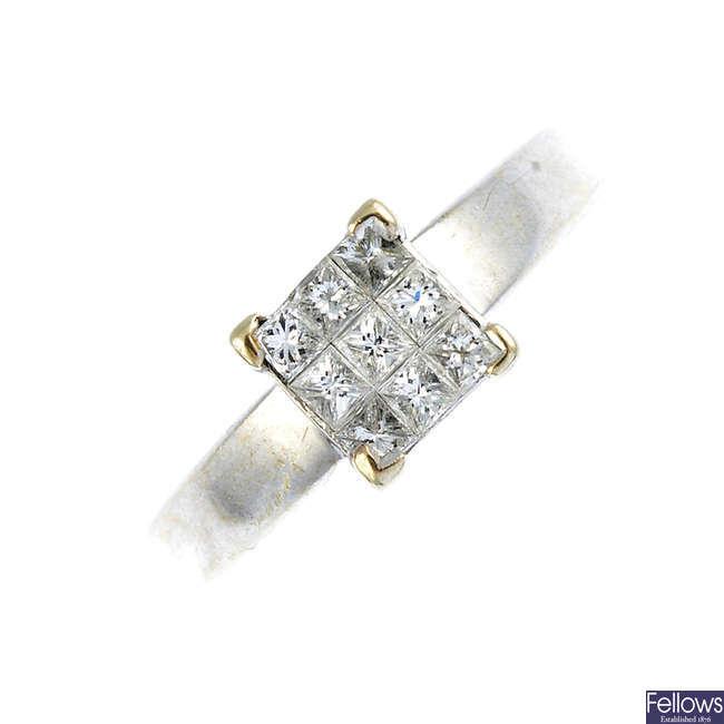 An 18ct gold diamond ring.