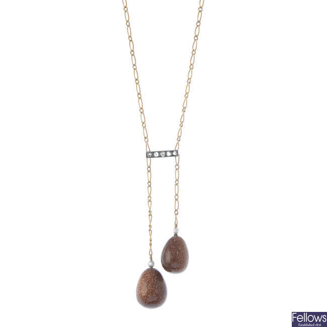 A composite early 20th century gold diamond and gem-set negligee necklace.
