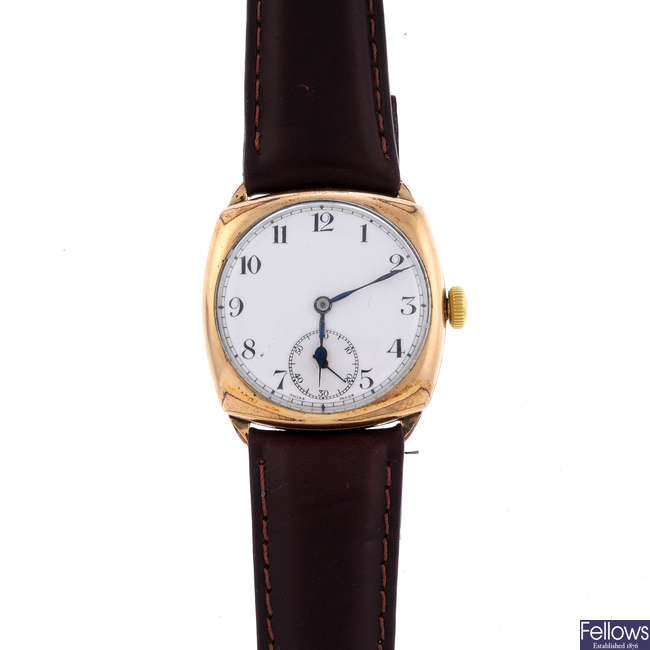 ZENITH - a gentleman's gold plated wrist watch with a Rotary watch head.
