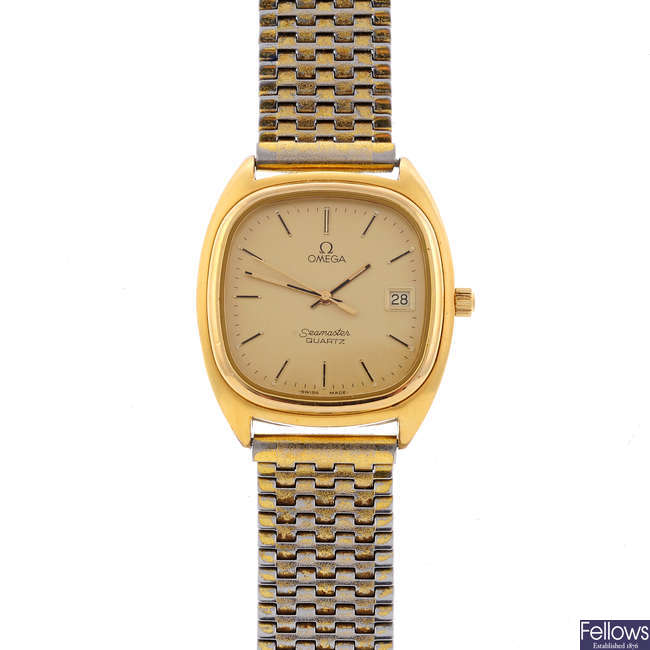 OMEGA - a gentleman's gold plated Seamaster bracelet watch with a Omega De Ville watch head.
