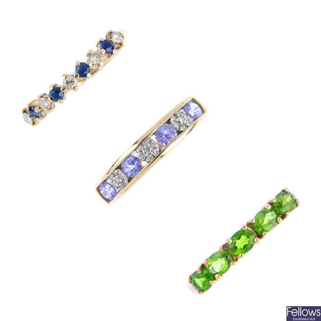Three 9ct gold diamond and gem-set rings.