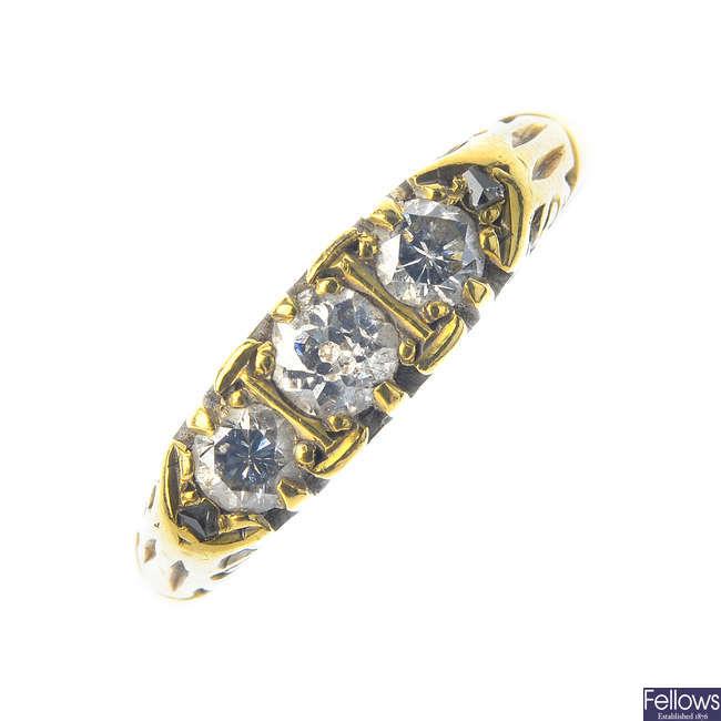 An early 20th century diamond three-stone ring.