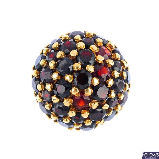 A garnet cluster ring.