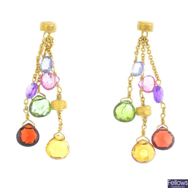 A pair of gem-set earrings.