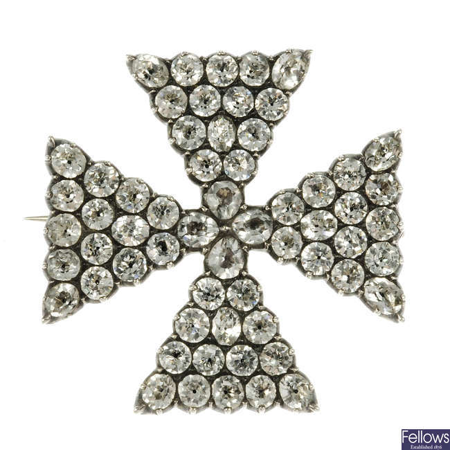 A late Georgian paste Maltese cross brooch.
