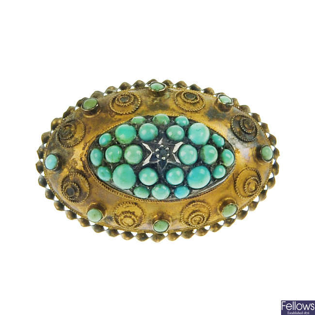 A late Victorian 15ct gold turquoise brooch.