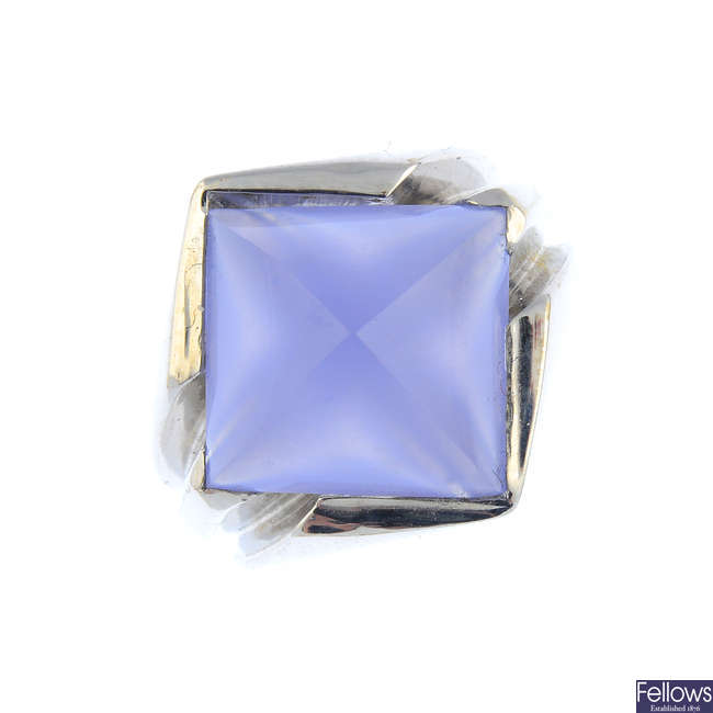 A chalcedony dress ring.