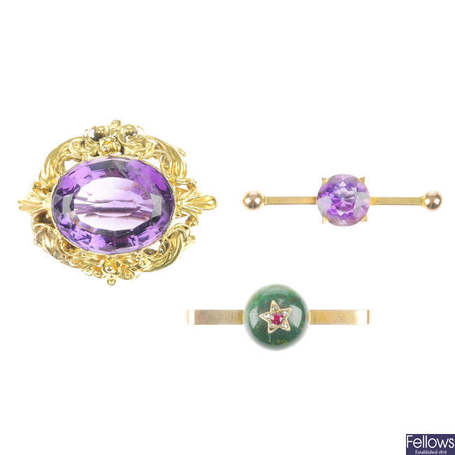 Three late 19th to early 20th century gem brooches.