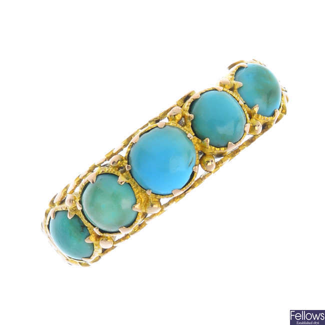 A mid Victorian 15ct gold turquoise five-stone ring.