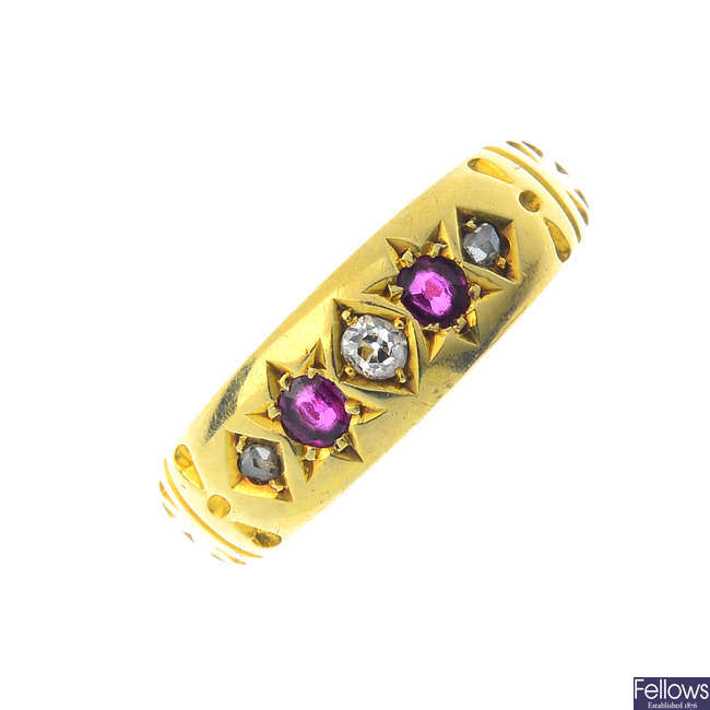 A late Victorian 15ct gold ruby and diamond ring.