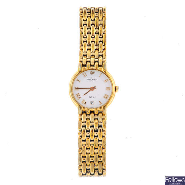 RAYMOND WEIL - a lady's gold plated Fidelio bracelet watch.