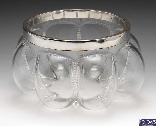 A large late Victorian silver mounted clear glass bowl.