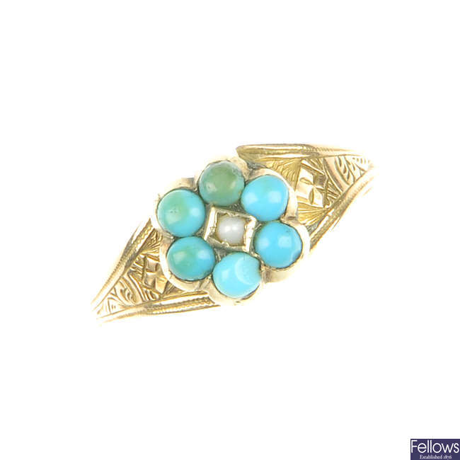 A late Victorian gold, turquoise and split pearl ring.