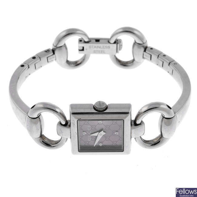 GUCCI - a lady's stainless steel Tornabuoni bracelet watch.