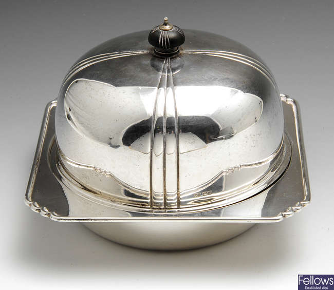 A 1930's silver muffin dish.
