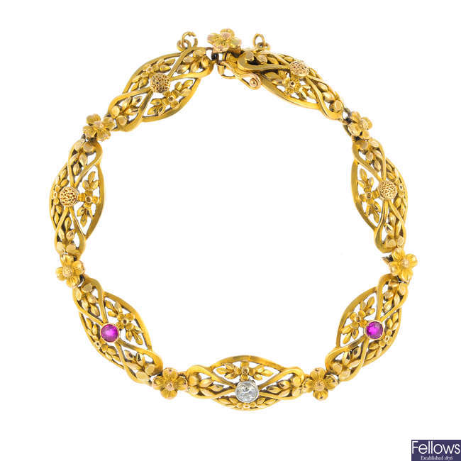 An early 20th century 15ct gold ruby and diamond bracelet.
