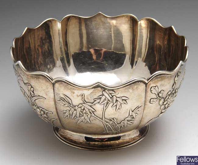 A Chinese export silver footed bowl.