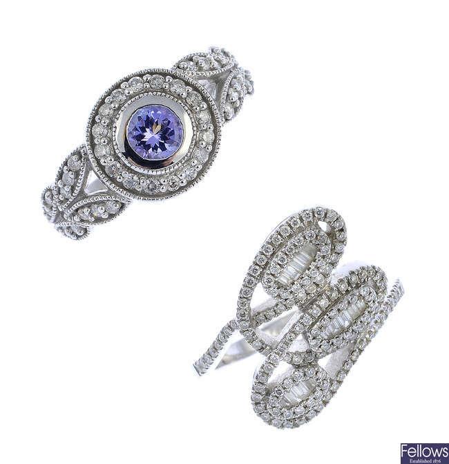 Two diamond and tanzanite dress rings.