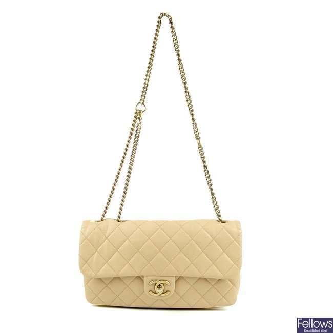 CHANEL - a nude Single Flap handbag.