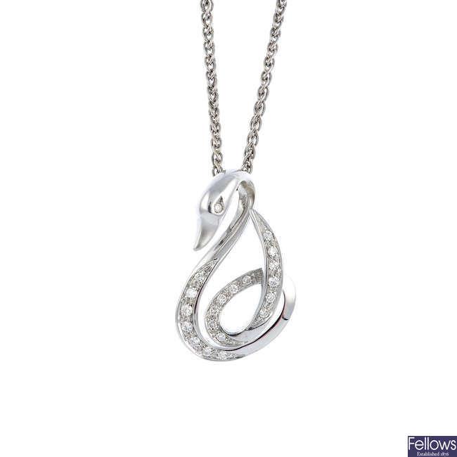 A diamond swan pendant, with chain.