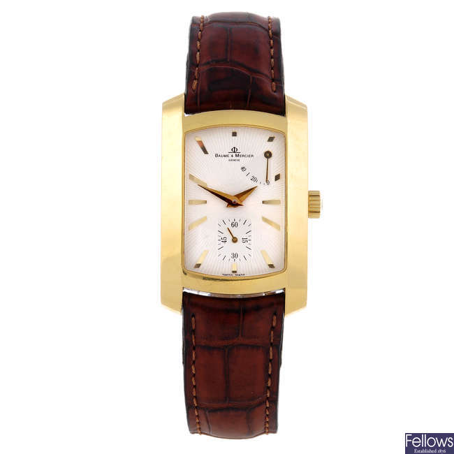 BAUME & MERCIER - a gentleman's 18ct yellow gold Hampton Milleis wrist watch.