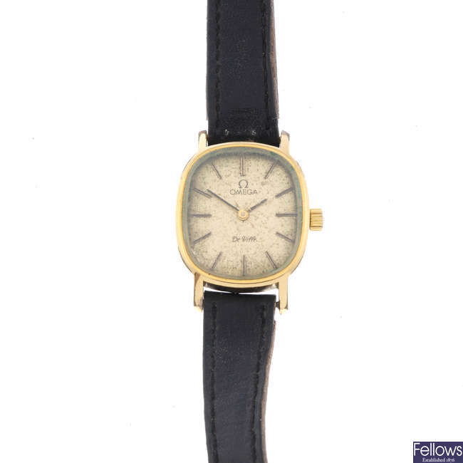 OMEGA - a lady's gold plated De Ville wrist watch with a Vertex watch.