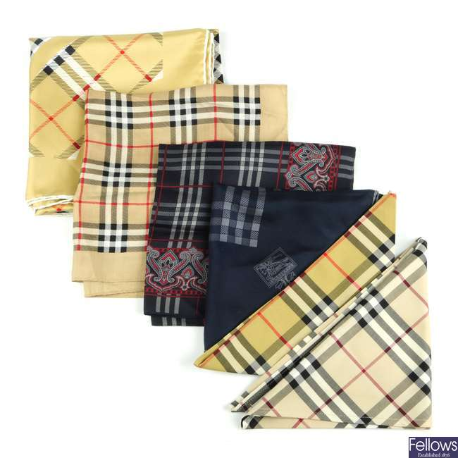 BURBERRY - a selection of scarves.