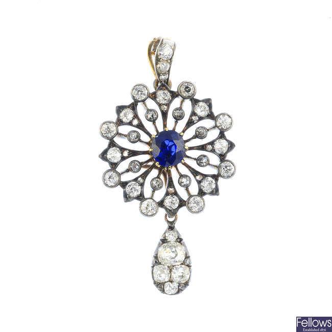 A Georgian and later no heat sapphire and diamond pendant.