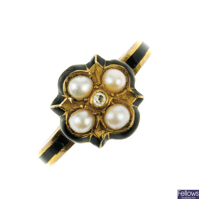 A late Victorian 9ct gold enamel, diamond and split pearl ring.