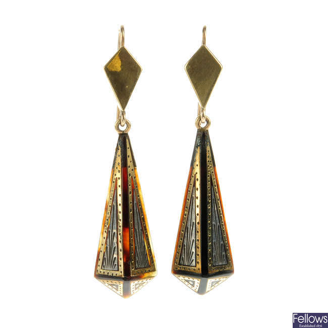 A pair of late Victorian pique tortoiseshell earrings.