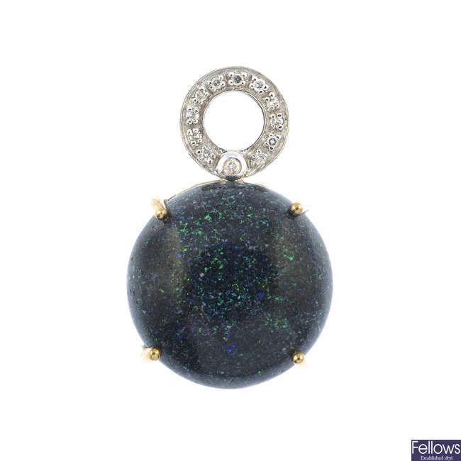 A treated opal and diamond pendant.