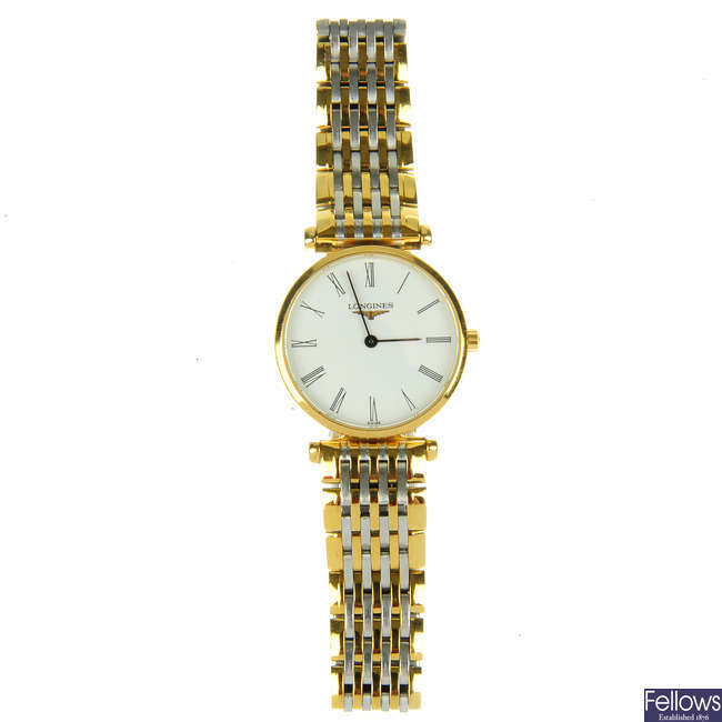 LONGINES - a lady's gold plated La Grande Classique bracelet watch with a Tissot and Gucci watch.