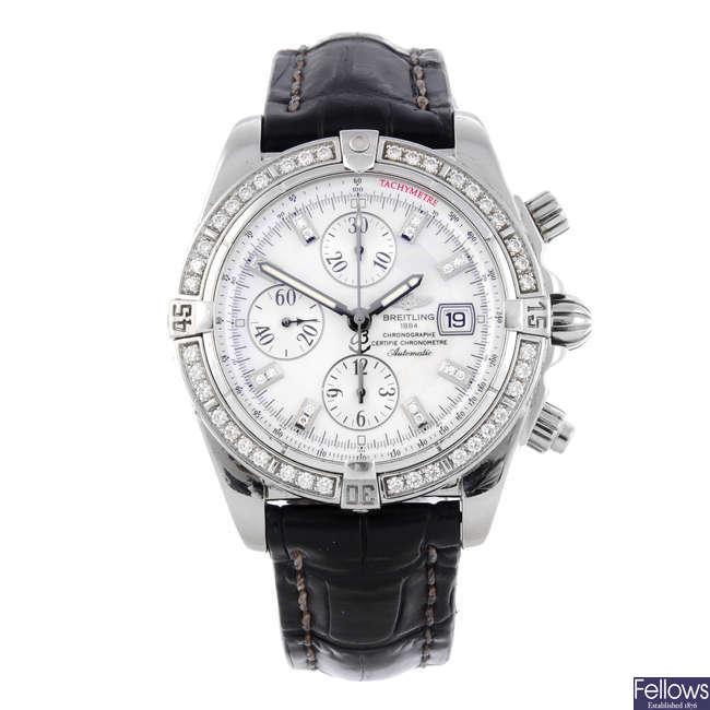 BREITLING - a gentleman's stainless steel Chronomat Evolution chronograph wrist watch.