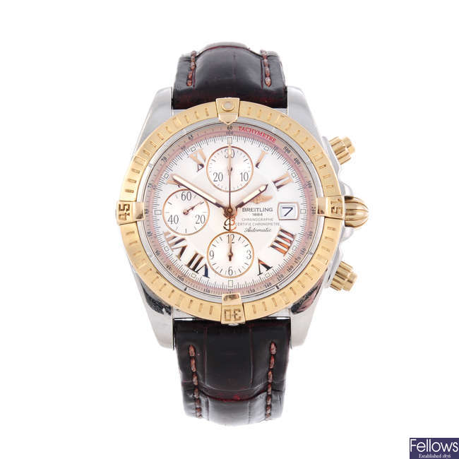 BREITLING - a gentleman's bi-metal Chronomat Evolution chronograph wrist watch.