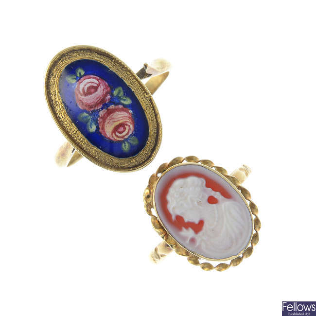 A cameo ring and an enamel ring.