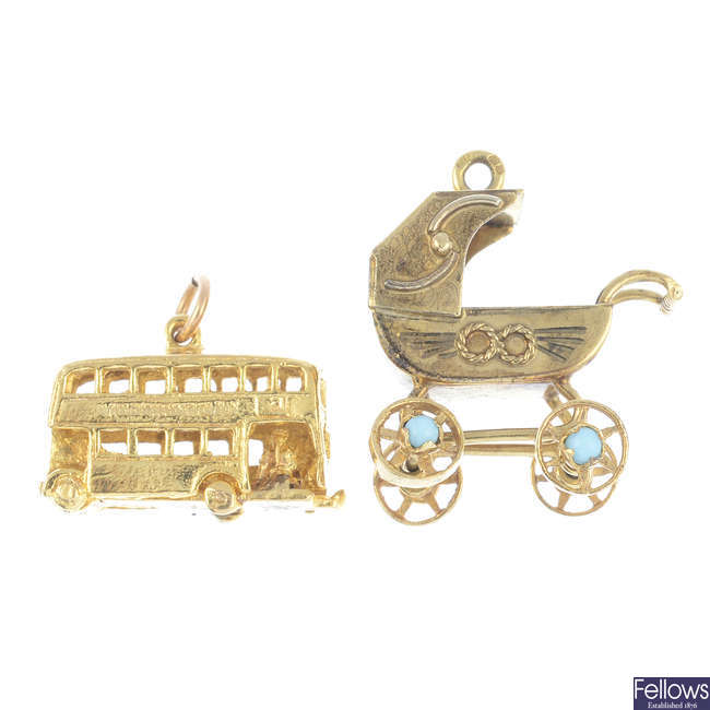 Two 9ct gold charms.