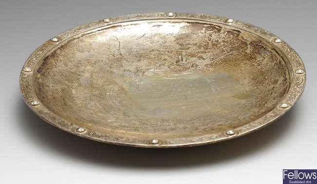 A 1930's Scottish silver shallow dish, etc.