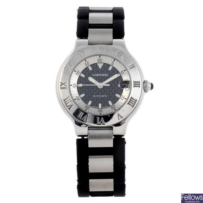 CARTIER - a stainless steel Autoscaph 21 wrist watch.