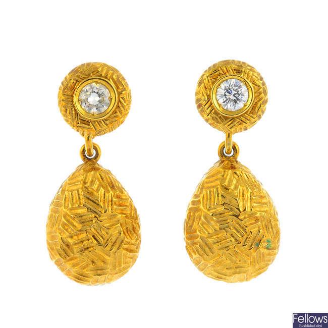 GARRARD - a pair of 1980s 18ct gold diamond earrings.