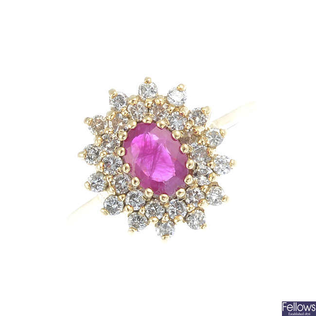 A 9ct ruby and diamond cluster ring.