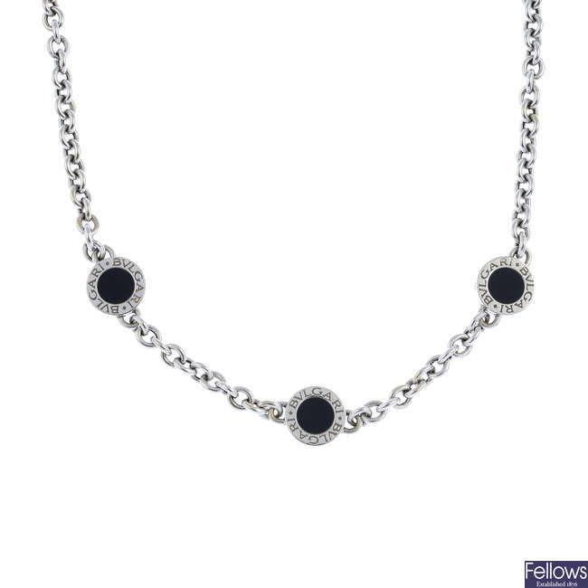 BULGARI - an onyx 'Bulgari Bulgari' necklace.