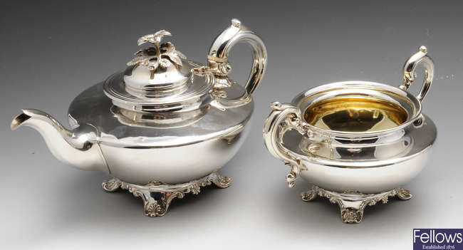 An early Victorian silver teapot and twin-handled sugar bowl.