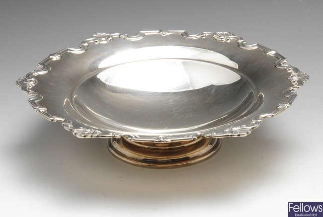A mid-twentieth century silver pedestal dish.