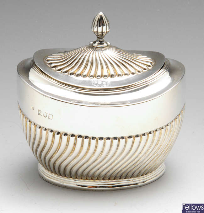 An Edwardian silver tea caddy.