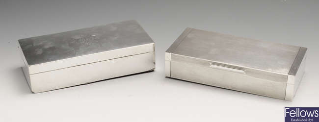 A late Victorian silver mounted table cigarette box & a 1930's example (2).