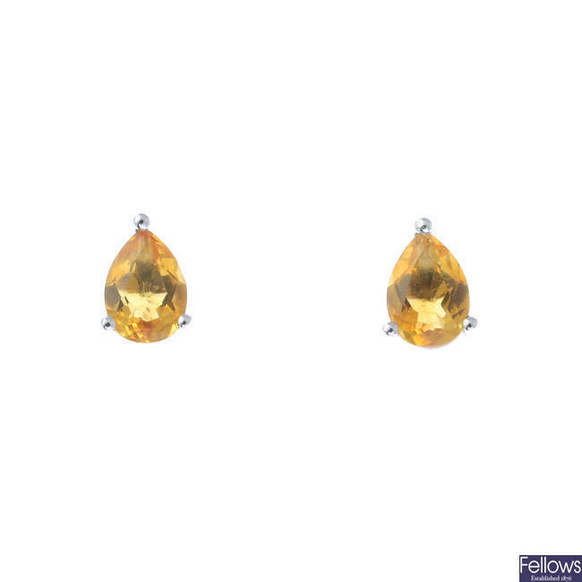 A pair of 9ct gold citrine stud earrings.