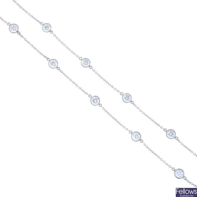 TIFFANY & CO. - a platinum 'Diamonds by the Yard' necklace.